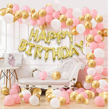 Kids 101 Pcs Wonderful Combo Happy Birthday Letter Foil Balloon  + Pink,White and Golden Metallic Balloons