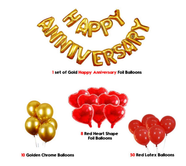 Abel Kids 69 pcs Romantic Combo  Happy Anniversay Letter foil balloons + Mettaliic Balloons + Special Heart shape Balloons