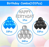 Kids 101 Pcs Wonderful Combo Happy Birthday Letter Foil Balloon  + Blue,Black and Silver Metallic Balloons - Abelestore
