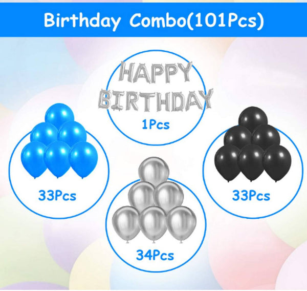 Kids 101 Pcs Wonderful Combo Happy Birthday Letter Foil Balloon  + Blue,Black and Silver Metallic Balloons