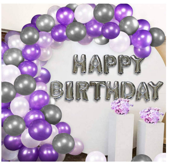 Abel Kids Elegant 31 Pcs Combo Happy Birthday Letter foil Balloon  + Purple,Silver and white Metallic Balloons