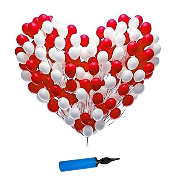 Kids 101pcs Combo Red and White Mettalic Balloon + Balloon Pump