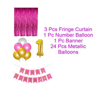 Abel Kids  Theme 29pcs  1st  Birthday Combo  Happy Birthday Banner  1st Number Foil Balloon+ fringe Curtains + Mettallic Balloons