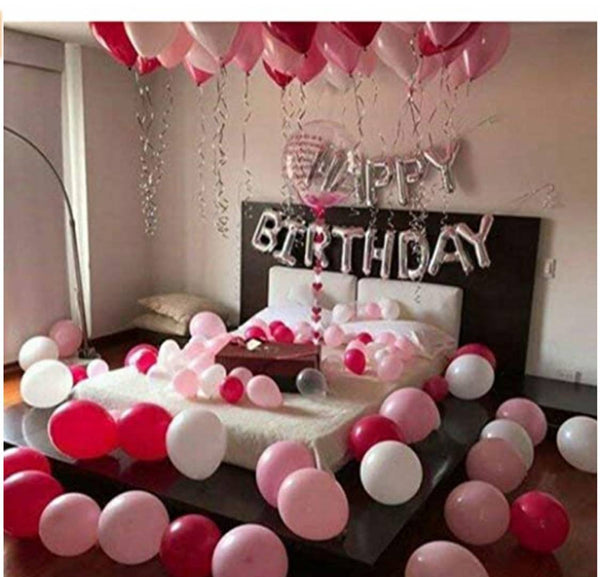 Kids Romantic 91 pcs Combo Happy Birthday foil Balloon +Red pink and white Mettallic Balloon
