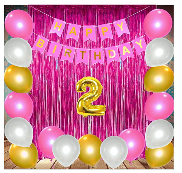 Abel Theme 29pcs 2nd Birthday Combo  Happy Birthday Banner 2nd Number Foil Balloon+ fringe Curtains + Mettallic Balloons