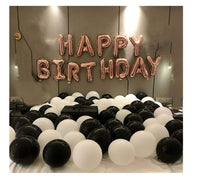 Abel Kids Royal birthday combo Happy  Birthday Foil Balloon + Black and White Mettalic Balloon