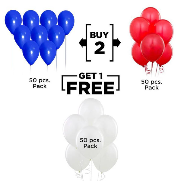 Abel !!! Buy 2 Get 1 !!! Happy Birthday Anniversary Party decoration 50 Blue +50 Red + 50 White Balloons (Pack of 150)