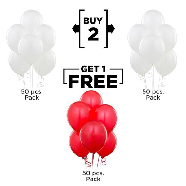 Abel !!!Buy 2 Get 1 !!! NHR Happy Birthday 50+50 White+50 Red Decoration Balloons (Pack of 150) - Abelestore