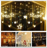 Star Curtain Lights 10 Stars,138 LED String led Light 2.5 Meter for Christmas Decoration-Strip led Light for Party Birthday Valentine Room Decor ,special for Diwali -Christmas Warm white(Yellow))