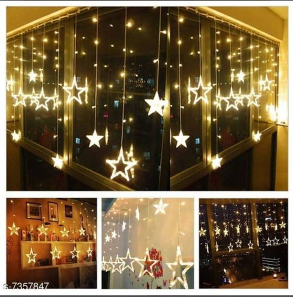 Star Curtain Lights 10 Stars,138 LED String led Light 2.5 Meter for Christmas Decoration-Strip led Light for Party Birthday Valentine Room Decor ,special for Diwali -Christmas Warm white(Yell