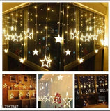 combo of Star Curtain Lights 10 Stars,138 LED String led Light 2.5 Meter for Christmas Decoration-Strip led Light for Party Birthday Valentine Room Decor , Diwali -Christmas Warm with sanitizer free