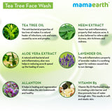 Mamaearth Tea Tree Natural for Acne & Pimples Wash 100 ml - For Normal & Dry Skin - SLS & Paraben Free Face Wash  (100 ml) - Abelestore