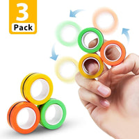 Pack of 3 ANTI STRESS FINGER SPINNER magnetic ring to DEPRESSION RELIEF & MOOD CHANGER & HARMLESS activity toy gadgets for KIDS & ADULTS from stressful work  (Multicolor) - Abelestore