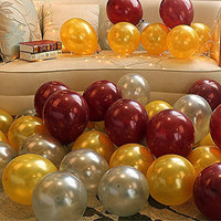 HD Metallic Finish Balloons for Birthday Party Decoration (Golden, Silver & Brown) - Pack of 50 PCS - Abelestore