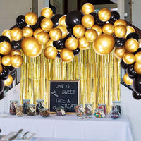 Abelestore Garland Arch Decoration Combo Kit Black Golden foil Curtain Birthday Party Supplies - Abelestore
