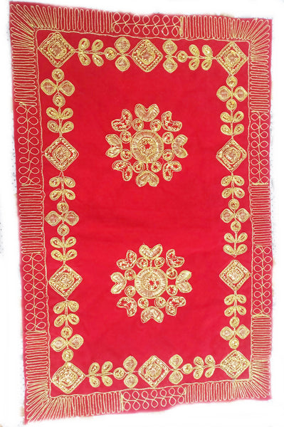 Flower Embroidery Chowki Aasan/Pooja Cloth/Pooja Kapda