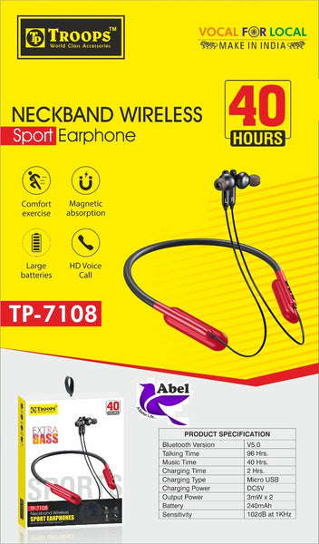 (Made in India) TP 7108 40 hours music time Bluetooth Neckband wireless Sport Earphones Big Batteries - Abelestore