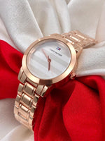 Buy Cheapest watches from Abelestore.com in India Mumbai Surat Jaipur Ahemdabad Kolkata With warranty Ladies watch for Gifting Purpose Branded White Dial Rose Gold Steel Body