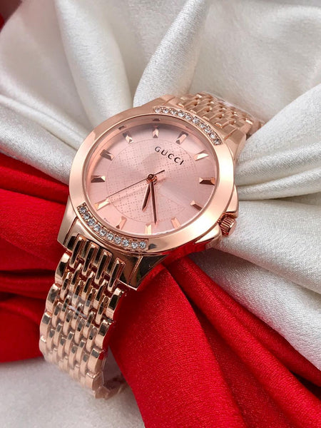 Ladies watch for Gifting Purpose Branded Rose Gold Dial Rose Gold Steel Body