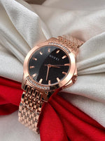 Buy from Abelestore.com Gucci Ladies watch for Gifting Purpose Branded Black Dial Rose Gold Steel Body