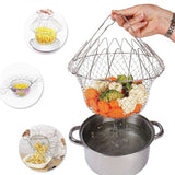 12 in 1 Chef Basket Kitchen Tool of Stainless Steel for Home Usage Collapsible Strainer Collapsible Deep Frying Basket  (Silver Pack of 1)
