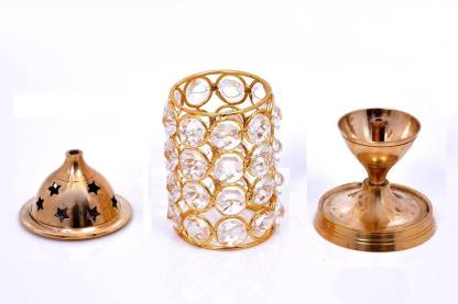 Diamond Crystal Deepak /Magical Lantern Brass Diya - Abelestore
