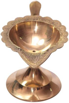 Brass Pooja Diya / Brass Diya With Handle / Designer Diya
