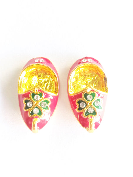Multicolour Metal Shoes For Deity/ Footwear For God/Meenakari Jutti