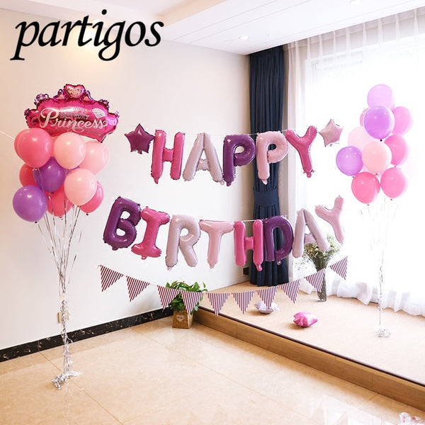 1 set Happy Birthday Letters balloons wedding birthday party banners helium globos Rose Gold foil balloons alphabets kids toy - Abelestore