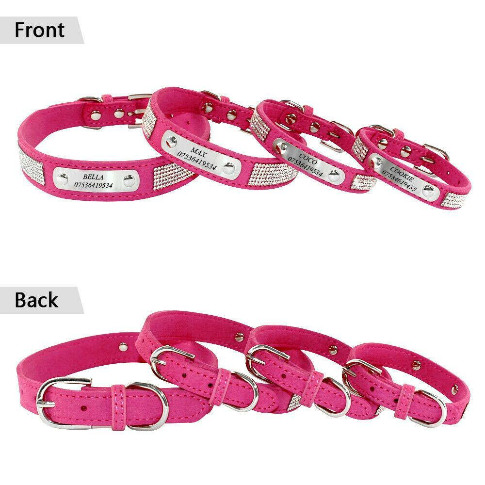 Personalised Rhinestone Leather Dog Collar - Dog Chews Store
