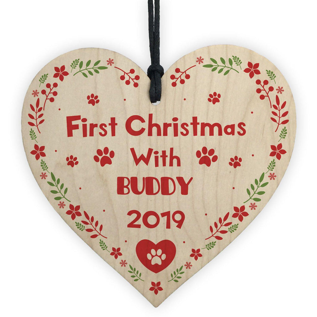 Personalised First Christmas Heart Shaped Bauble - Dog Chews