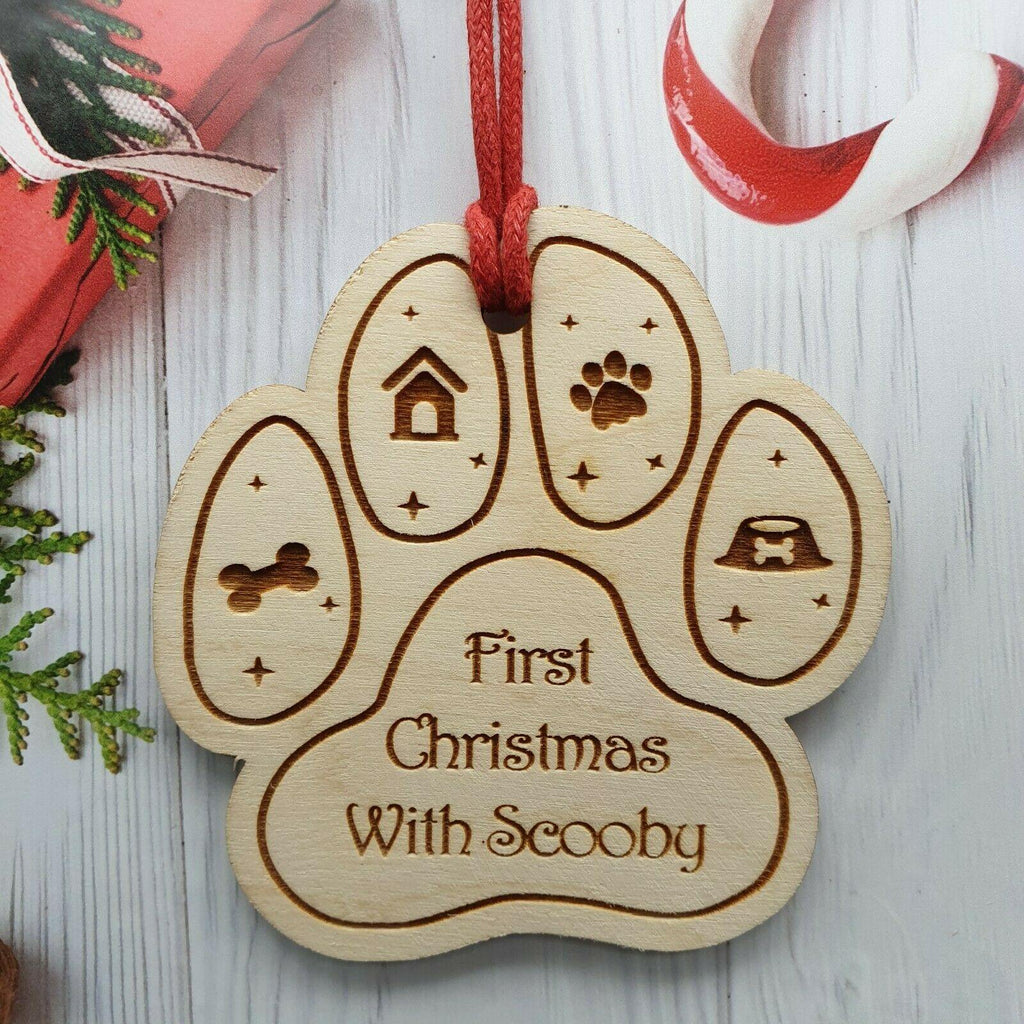 Personalised First Christmas Wooden Bauble - Dog Chews