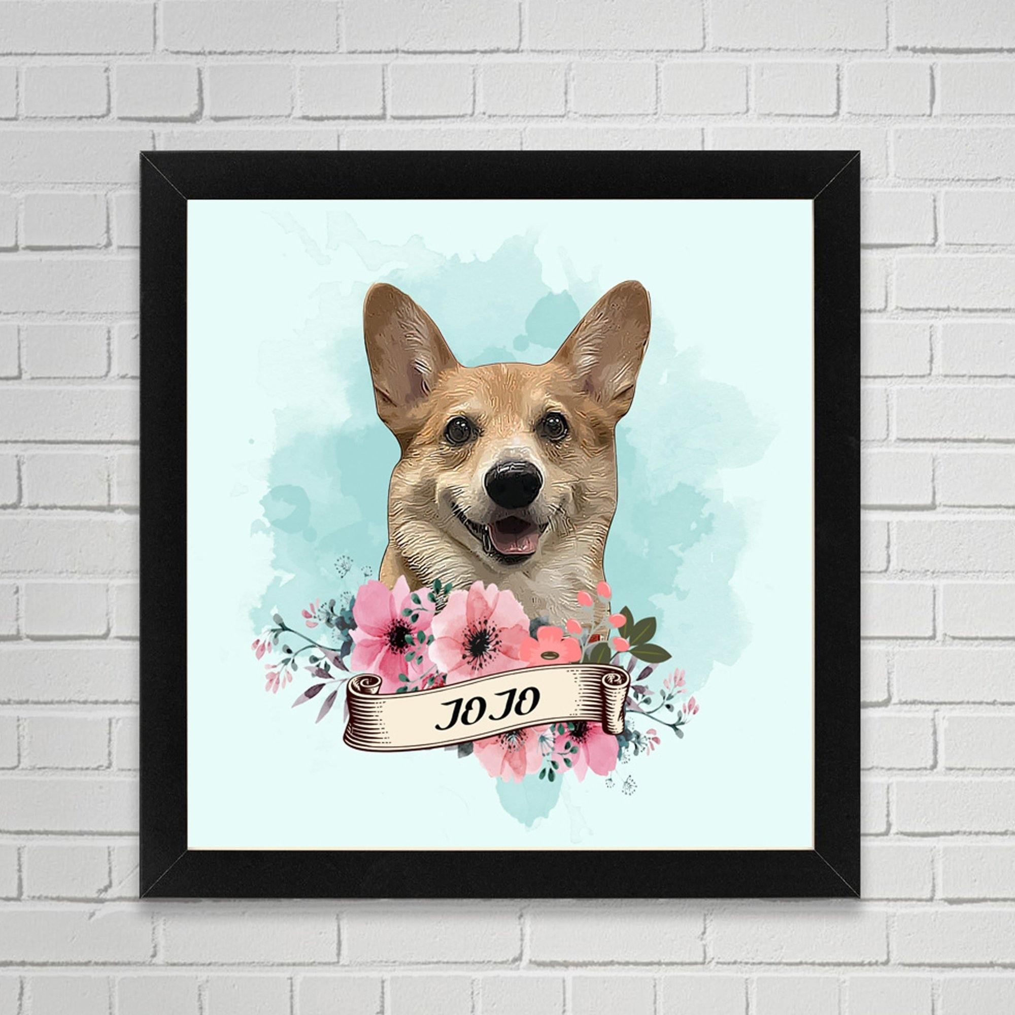 Personalised Pet Portrait Framed Canvas (Multiple Designs and Sizes) - Dog Chews