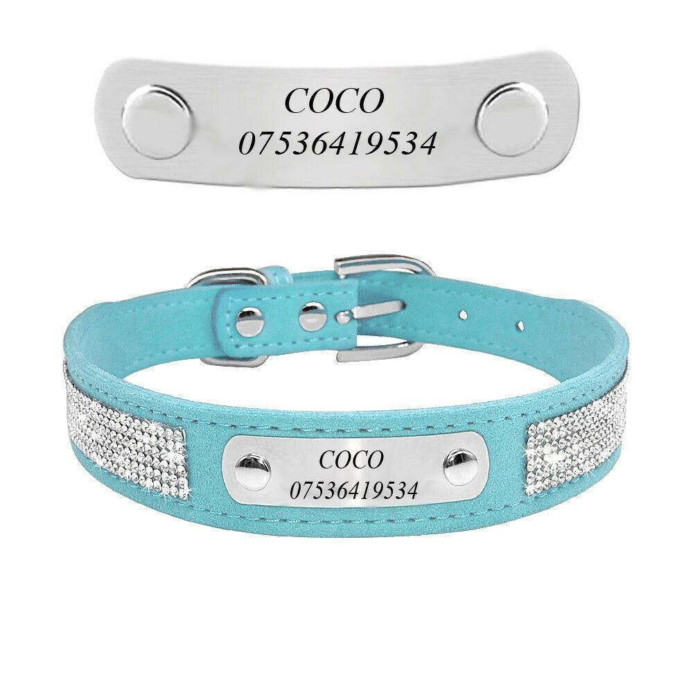 Personalised Rhinestone Leather Dog Collar - Dog Chews