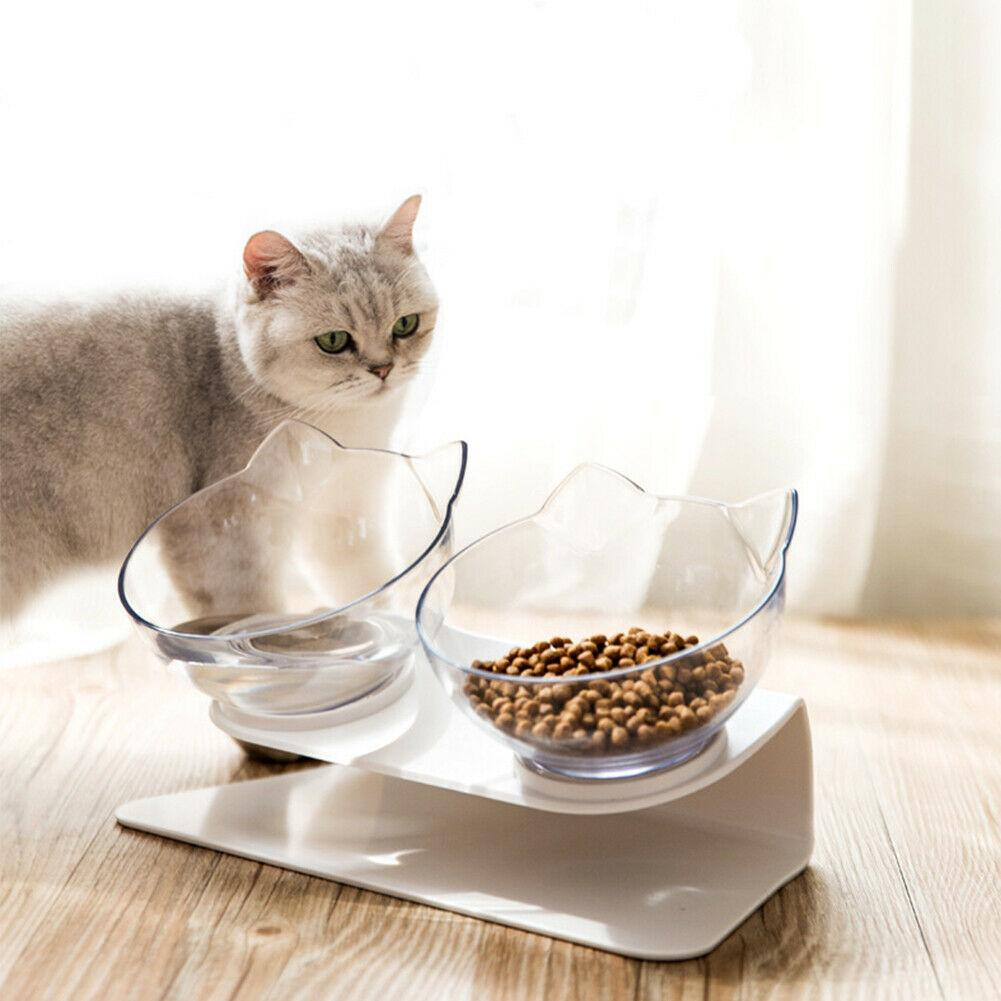 Raised Tilted Double Bowl Cat Feeder - Dog Chews