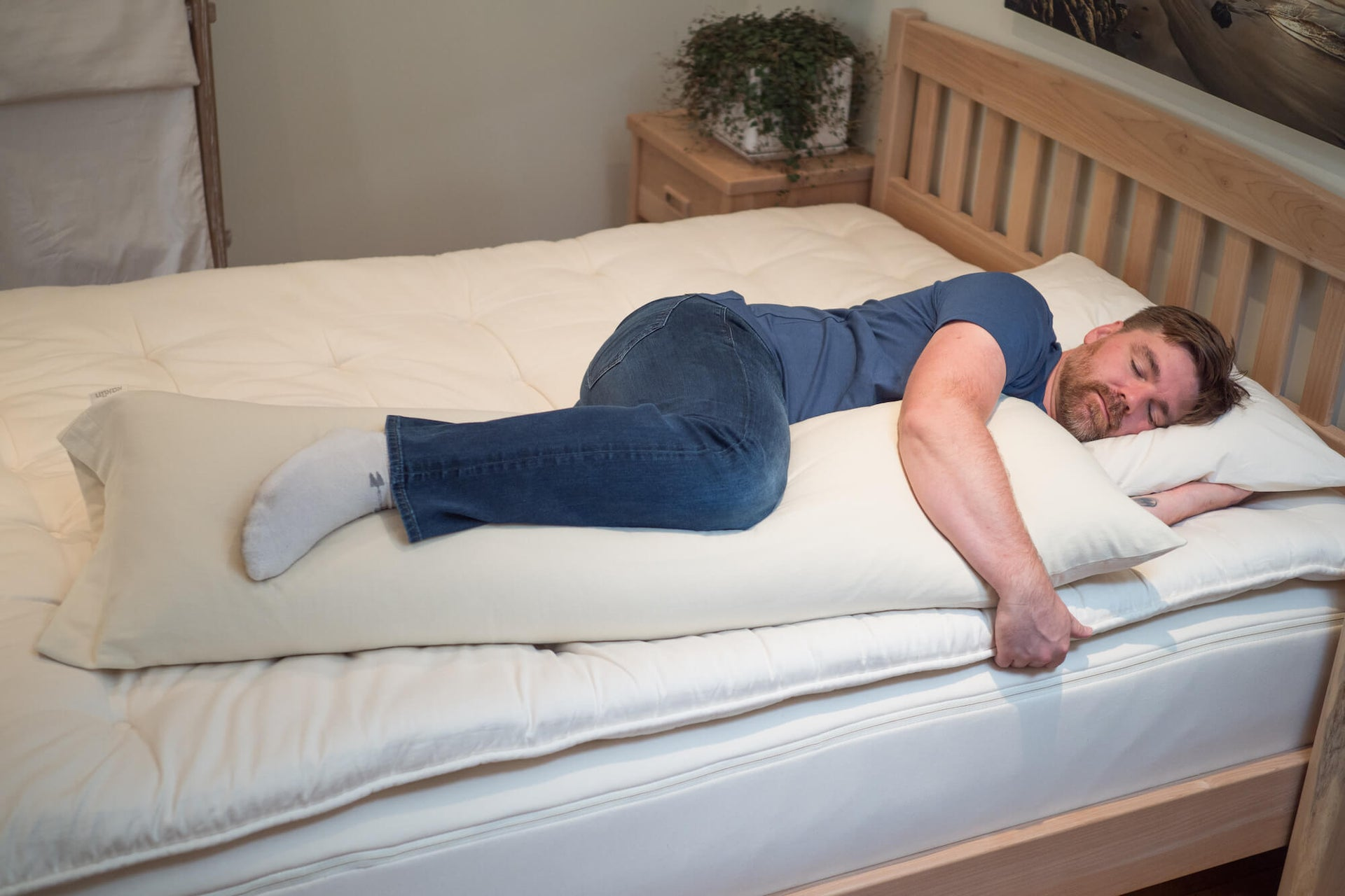 Organic eco wool body pillows for side sleepers