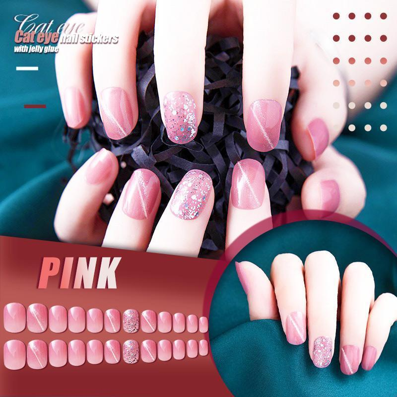 (24PCS)Mysterious Cat Eye Nail Patch with Jelly Gum