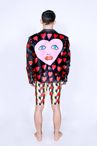 'Hearts' Hand Painted Leather Jacket - Patrick Church