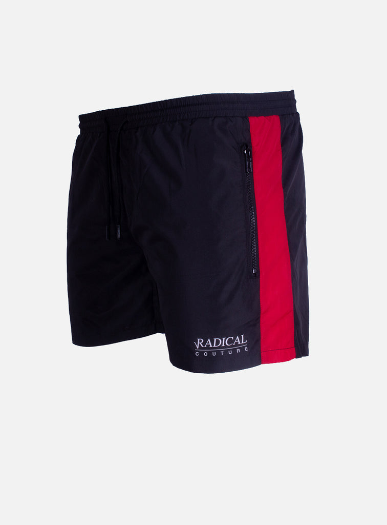 SWIM SHORT STRIP BLACK/RED