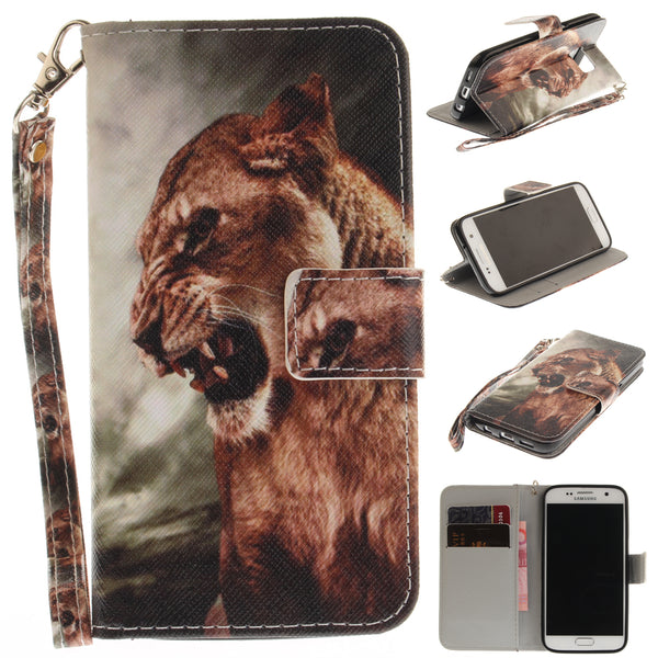 Lion Pattern Printed Flip Magnetic Wallet Case For Samsung Galaxy S7 - Daily Tech Gadgets