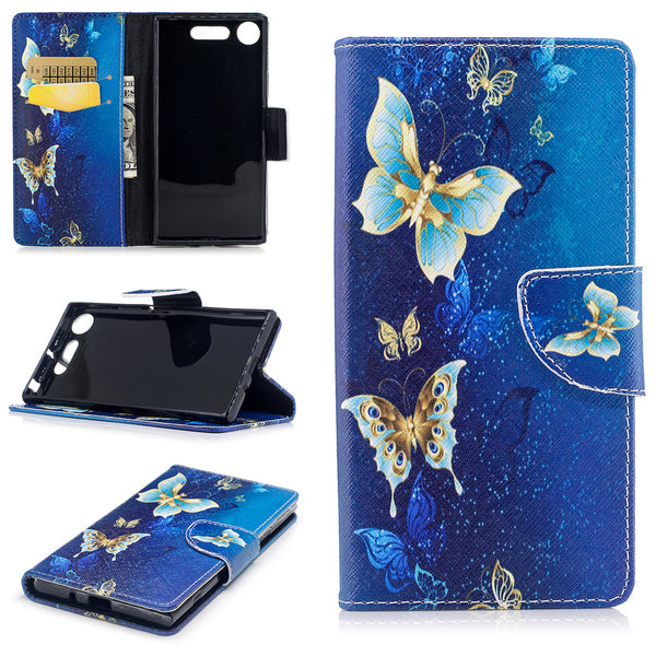 Butterfly Pattern Printed Flip Magnetic Wallet Cover For Sony Xperia XZ1 - Daily Tech Gadgets