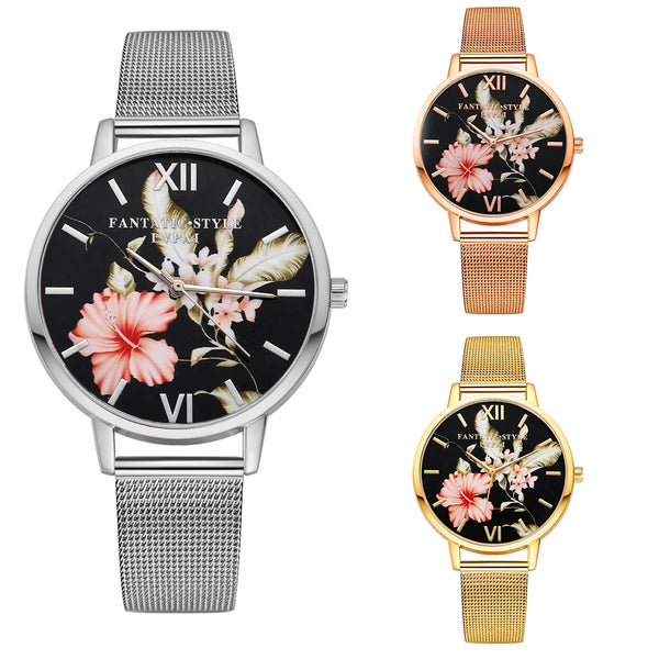 Women Fashion Flower Print Round Dial Quartz Wrist Watch - Daily Tech Gadgets