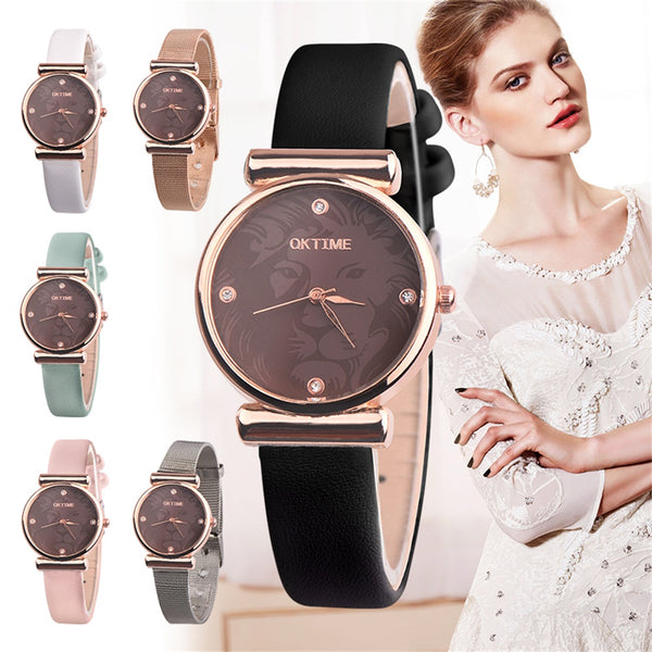 Lion Design Women Rhinestone Faux Leather/Alloy Wrist Watch - Daily Tech Gadgets