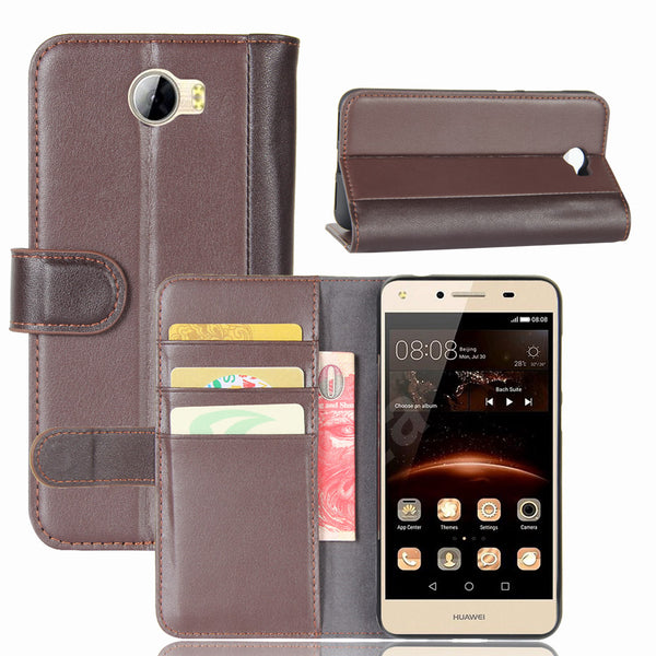 Huawei Y5 II Case Genuine Leather Magnetic Flip Cover Wallet - Daily Tech Gadgets