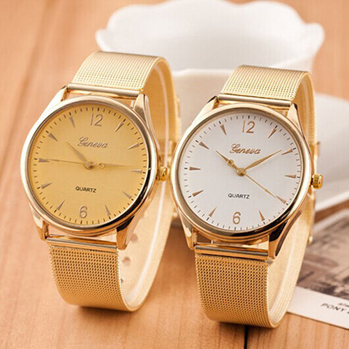 Women's Geneva Gold Tone Mesh Band - Daily Tech Gadgets
