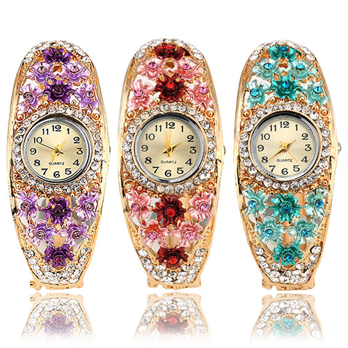 Women's Flower Golden Color Crystal Bracelet - Daily Tech Gadgets