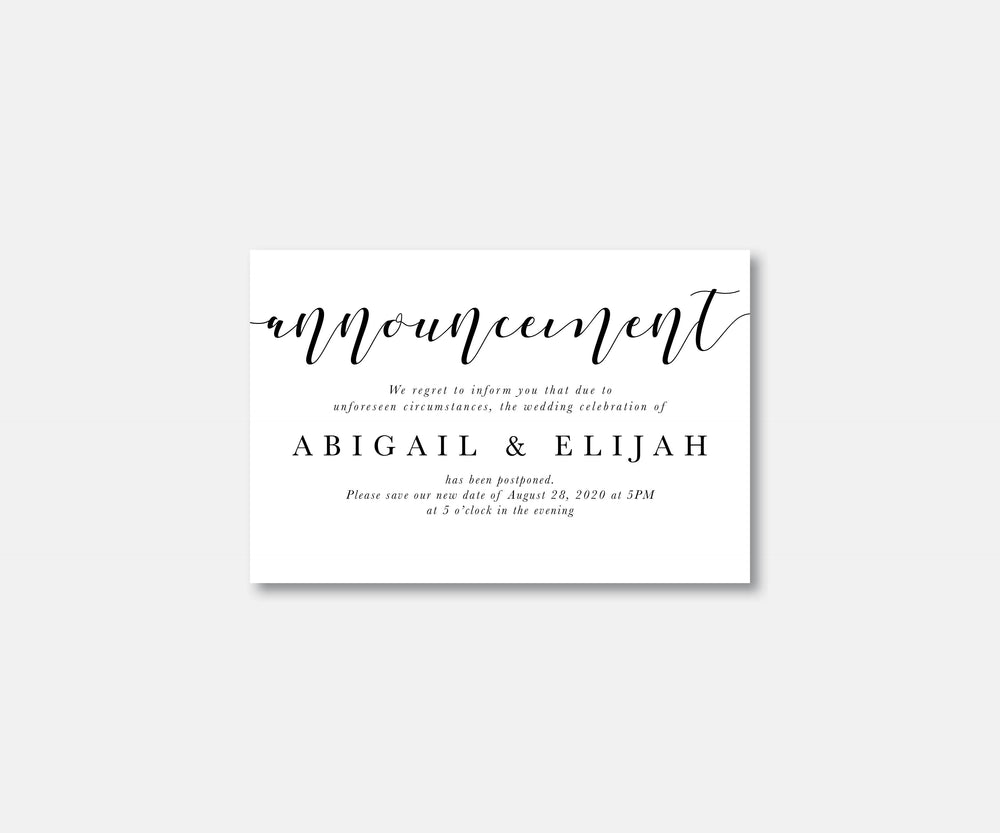 Minimalist Wedding Postcard