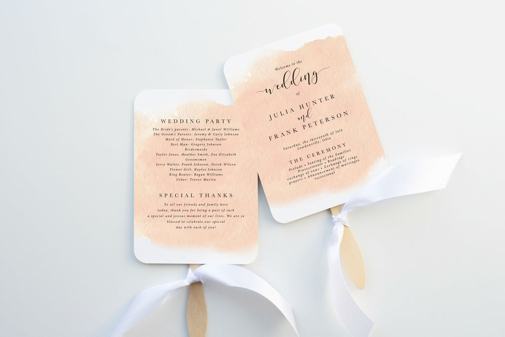 Blush Watercolor Wedding Program Fan