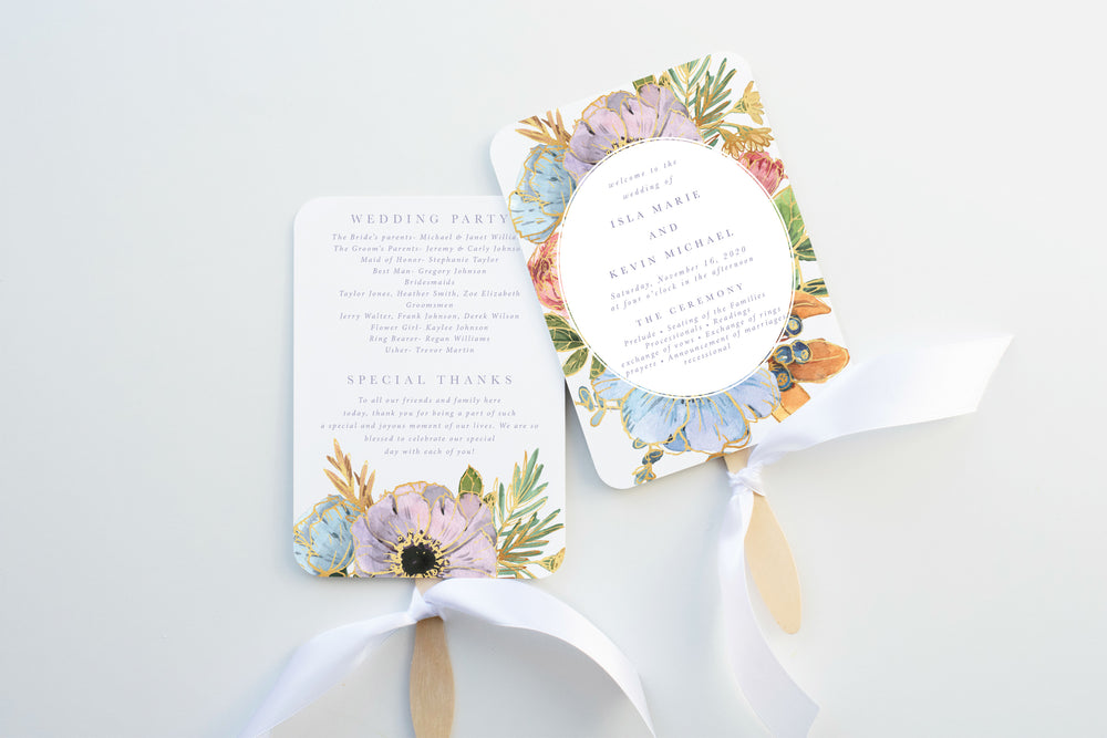 Boho Floral Wedding Program Fan