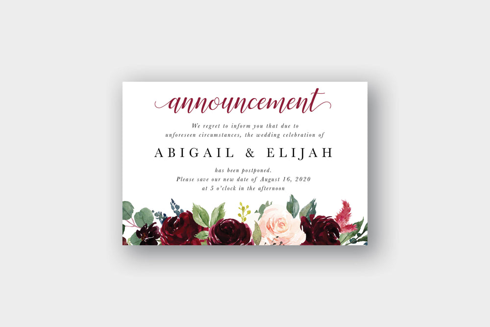Burgundy Wedding Postcard